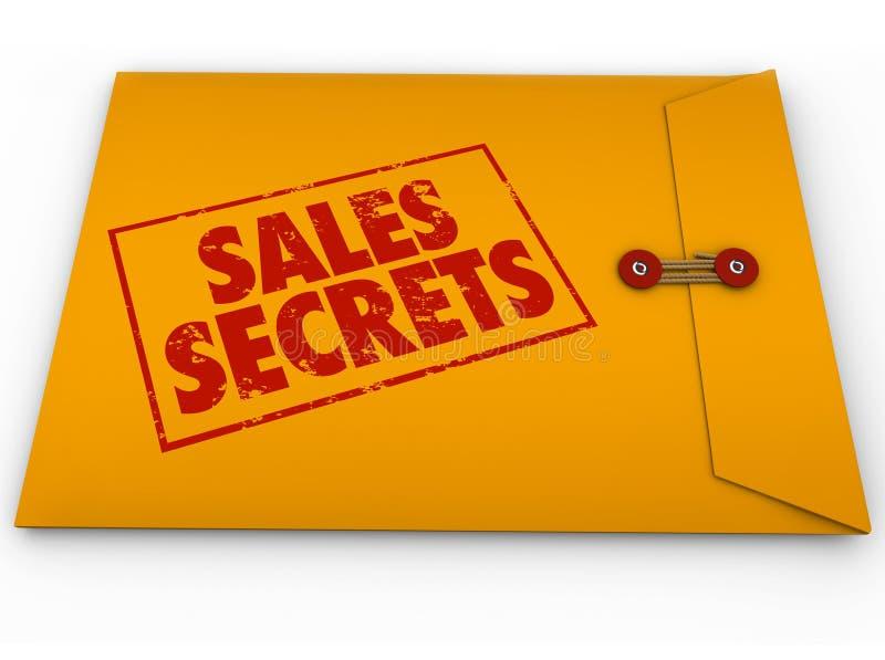 Enveloppe jaune de secrets de ventes comment effectuer une vente illustration libre de droits