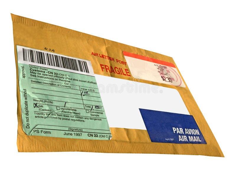 Enveloppe jaune simple, module de courrier de cru image stock