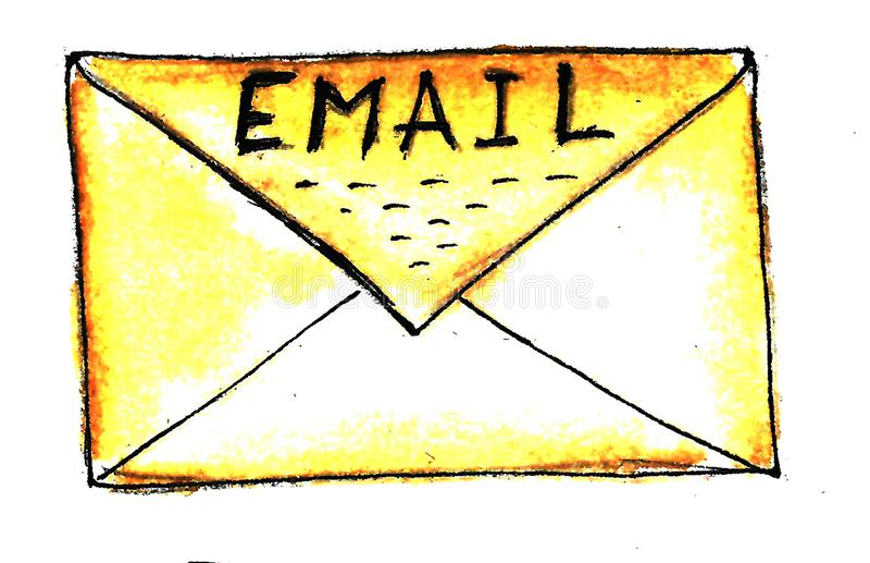 Enveloppe jaune tirée par la main de papier d'aquarelle avec le fond d'email d'inscription De nouveau ? l'?cole Fond de cru illustration de vecteur