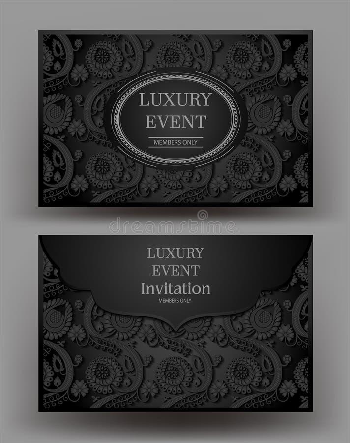 Enveloppe noire élégante d'événement de luxe avec la conception florale illustration de vecteur