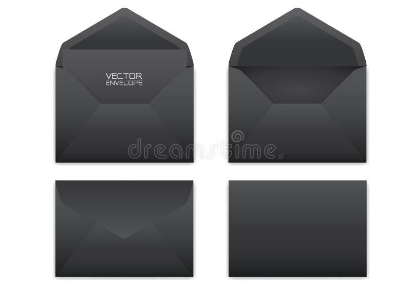 Enveloppe noire réaliste réglée sur le vecteur blanc de fond illustration libre de droits