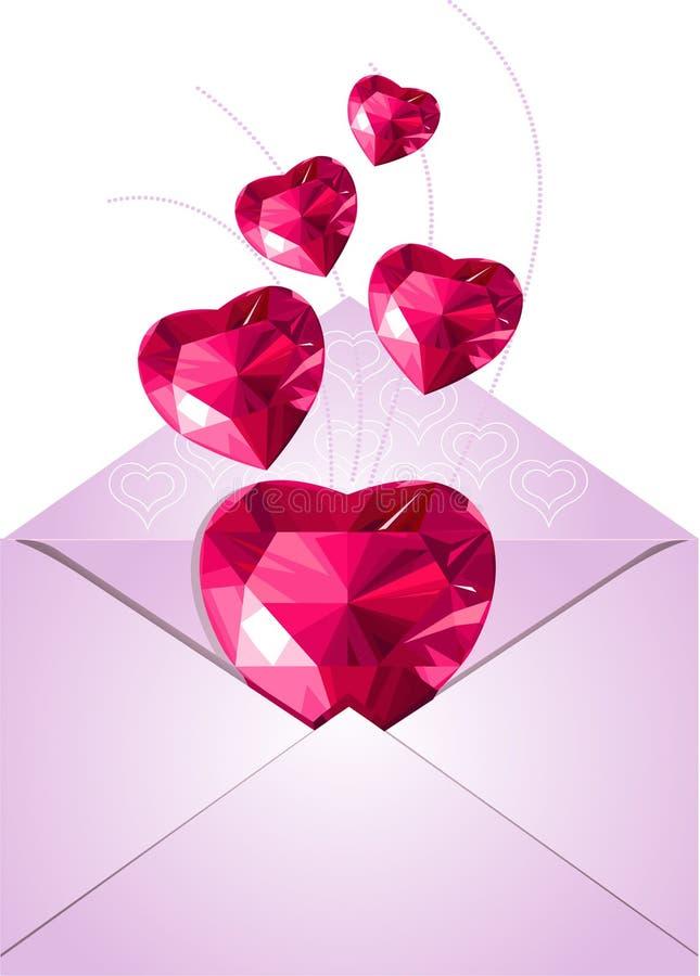 Enveloppe ouverte avec des coeurs d'amour illustration de vecteur