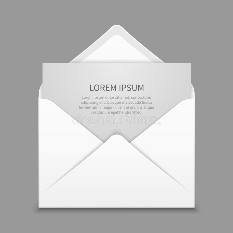 Enveloppe ouverte avec la maquette réaliste de dernier vecteur de papier blanc illustration de vecteur
