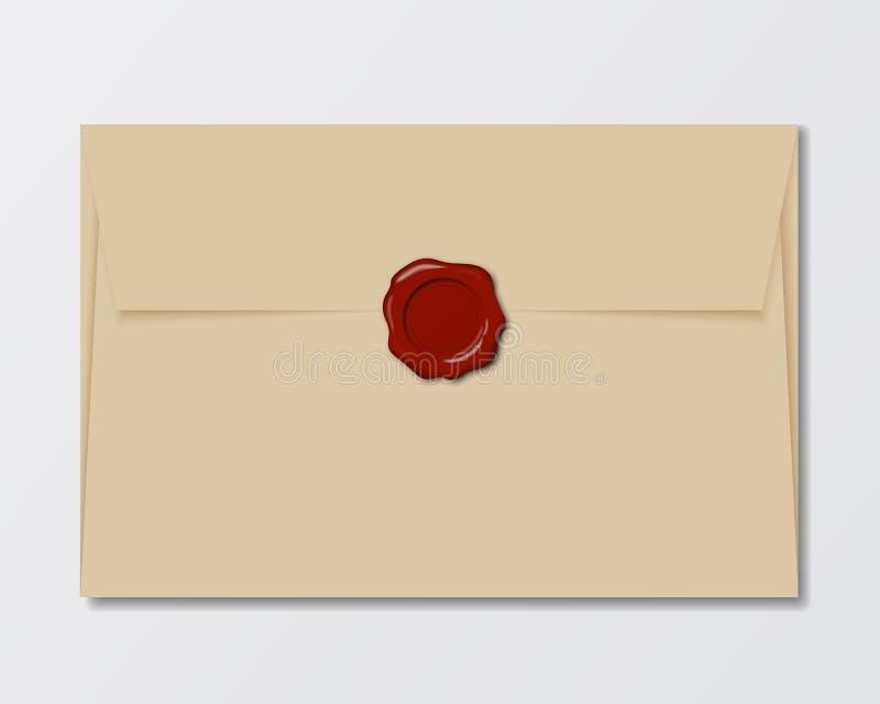 Enveloppe réaliste de vieux papier avec le joint de cire - vecteur illustration libre de droits