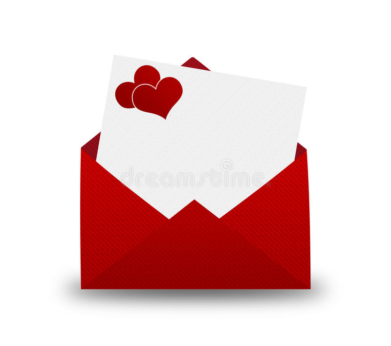 Enveloppe rouge avec un coeur pour la saint valentin illustration stock illustration du - Coeur pour la saint valentin ...