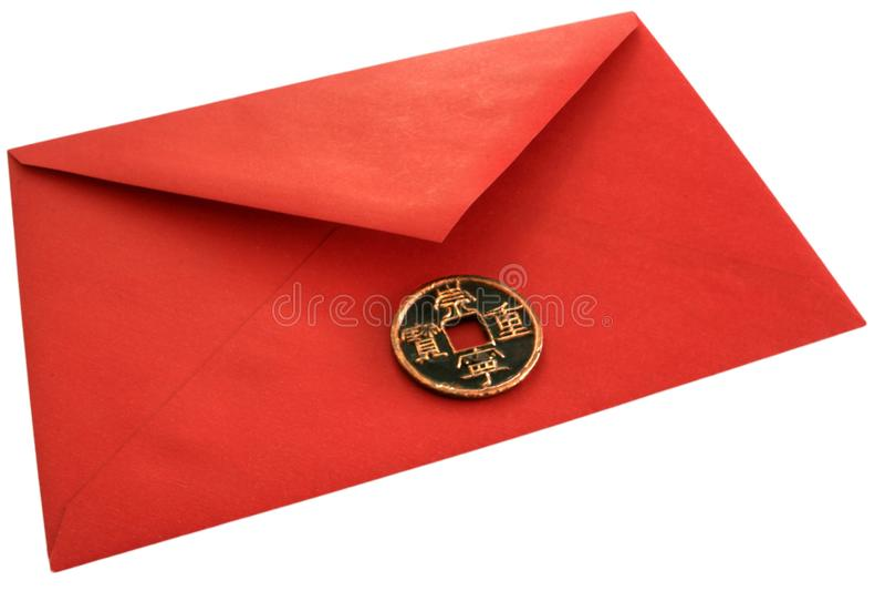 Enveloppe rouge d'argent. photos libres de droits