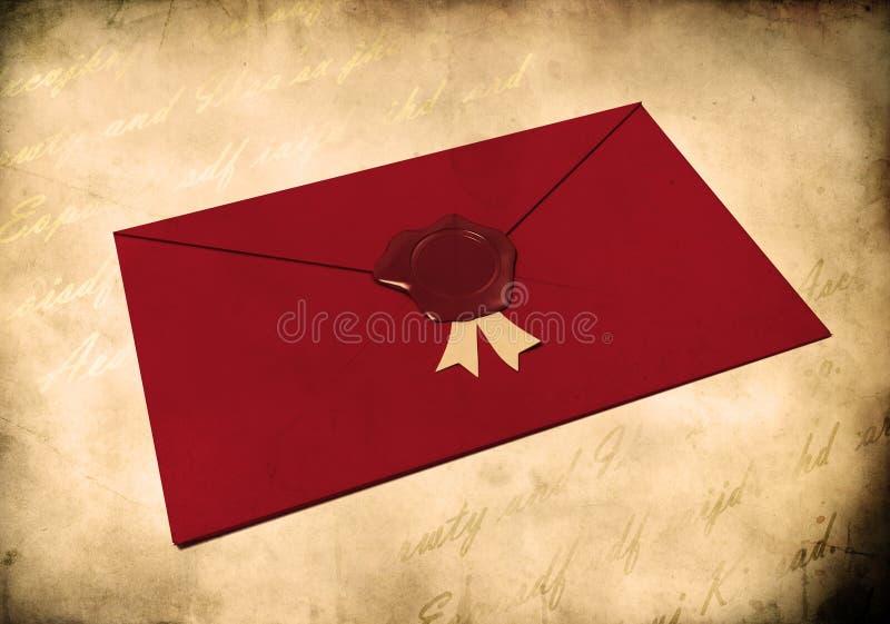 Enveloppe rouge scellée avec le sceau rouge de cire illustration stock