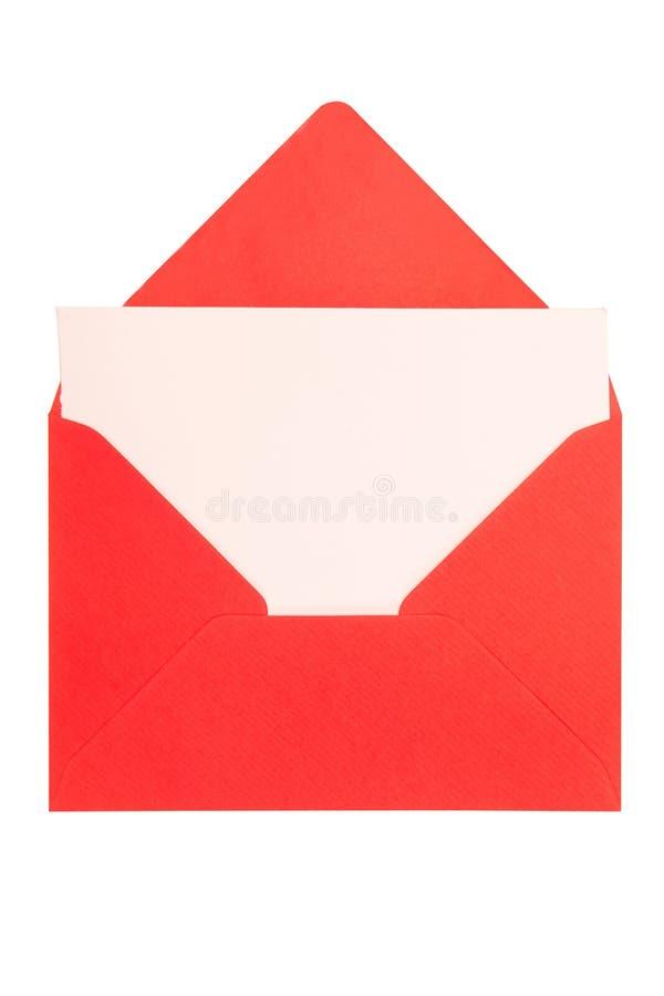 Enveloppe rouge sur le fond blanc photos libres de droits