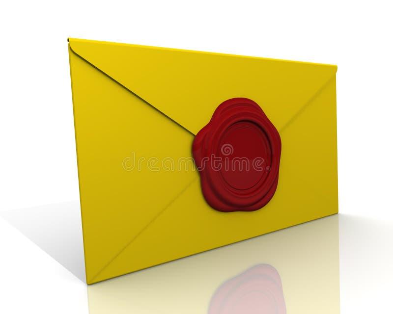 Enveloppe scellée avec un joint de cire illustration de vecteur