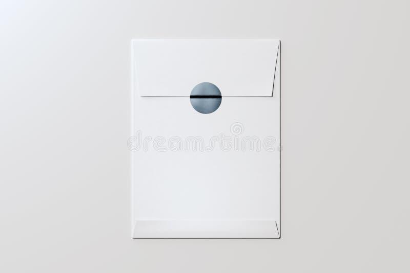 Enveloppe vide blanche avec l'autocollant brillant gris rendu 3d illustration libre de droits