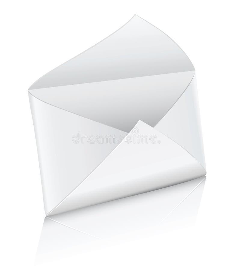 Enveloppe vide blanche de courrier de graphisme de vecteur ouverte illustration libre de droits