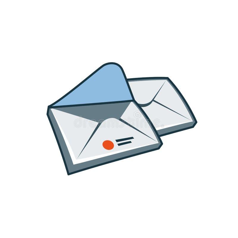 Enveloppenpictogram in beeldverhaalstijl vector illustratie