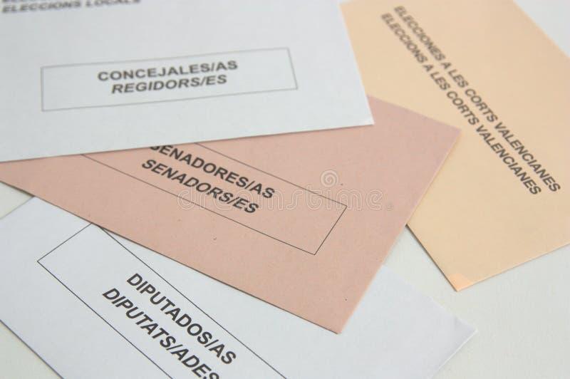 Enveloppes électorales de l'Espagne et de la Communauté Valencian photos stock