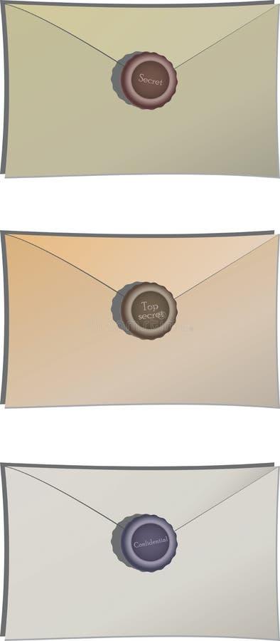 Enveloppes avec de la cire de cachetage illustration de vecteur