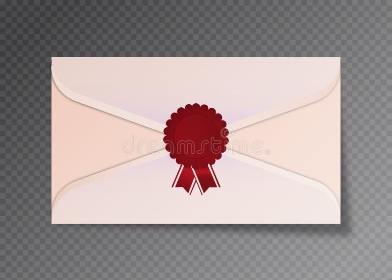 Enveloppes blanches ouvertes et fermées de vecteur D'isolement sur le calibre transparent de maquette de fond, publicité, cartes  illustration de vecteur