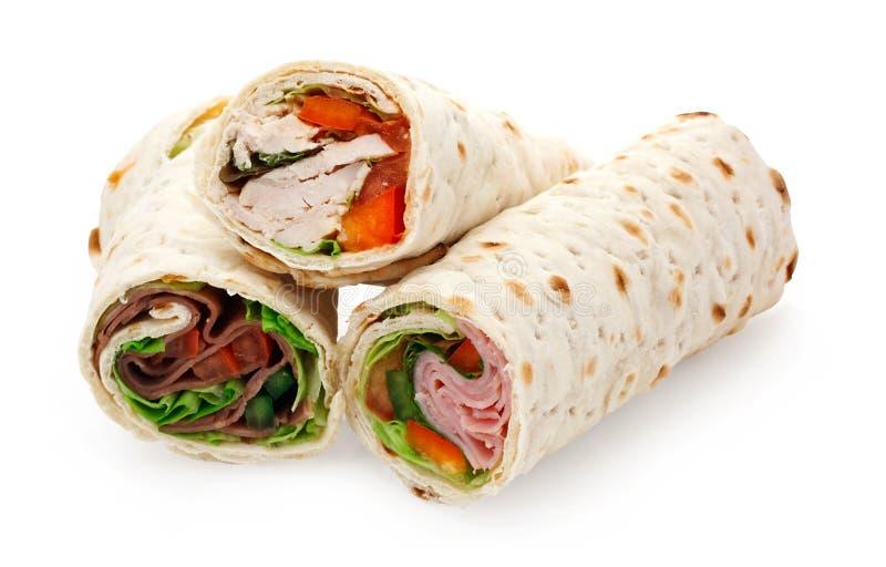 Enveloppes découpées en tranches de déjeuner léger images libres de droits