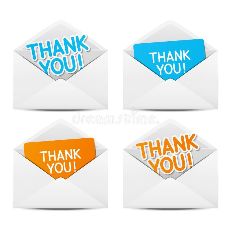 Enveloppes de papier avec tous nos remerciements illustration de vecteur