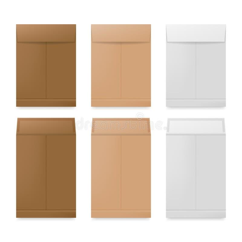 Enveloppes de papier blanc, beige et brun Maquette réaliste pour des cartes de lettre ou d'invitation illustration de vecteur