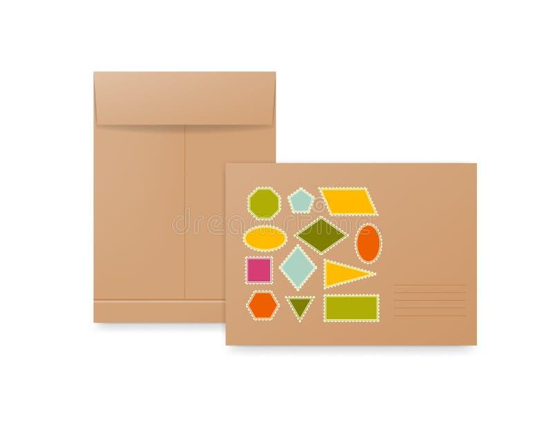 Enveloppes de papier blanc, beige et brun Maquette réaliste pour des cartes de lettre ou d'invitation illustration libre de droits