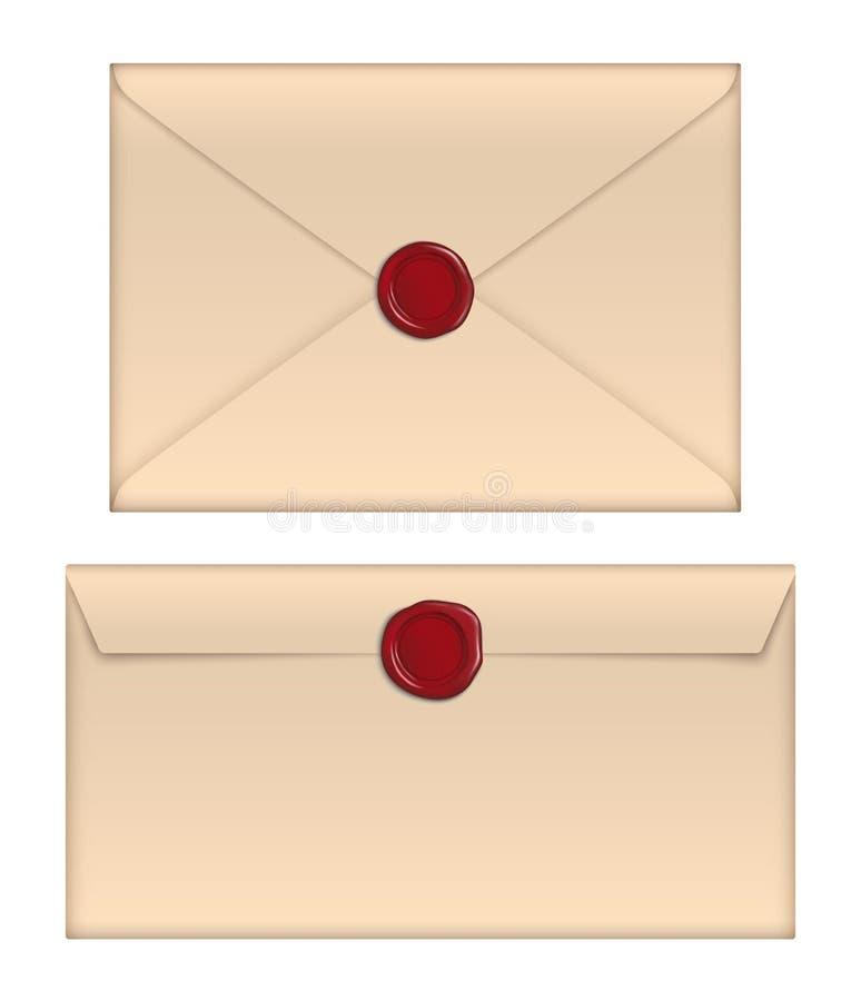 Enveloppes de papier brunes de vecteur rétros avec le joint rouge de cire d'isolement sur le fond blanc illustration de vecteur