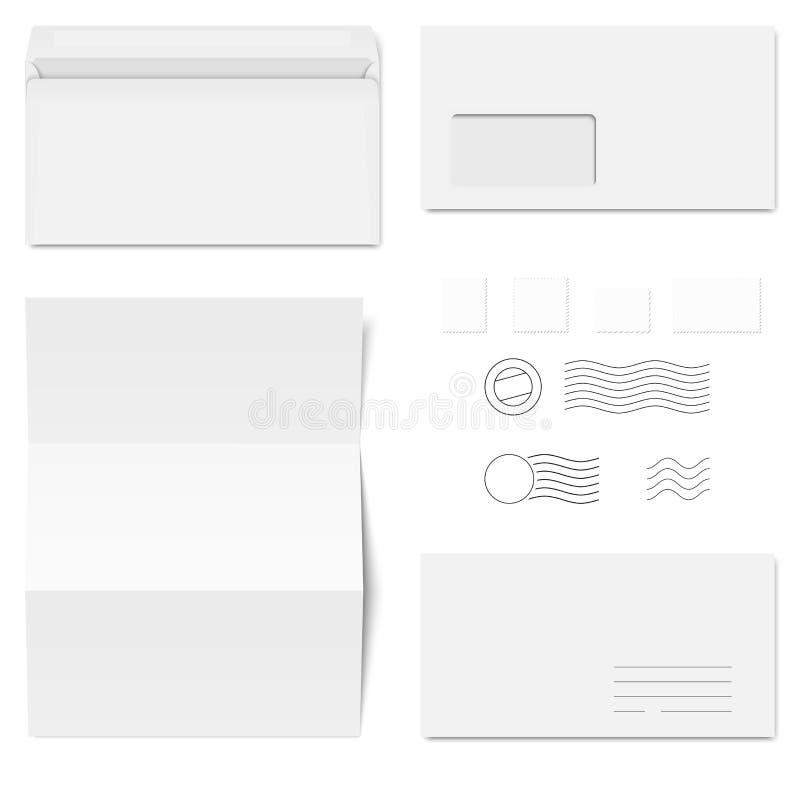 enveloppes et timbres-poste illustration de vecteur