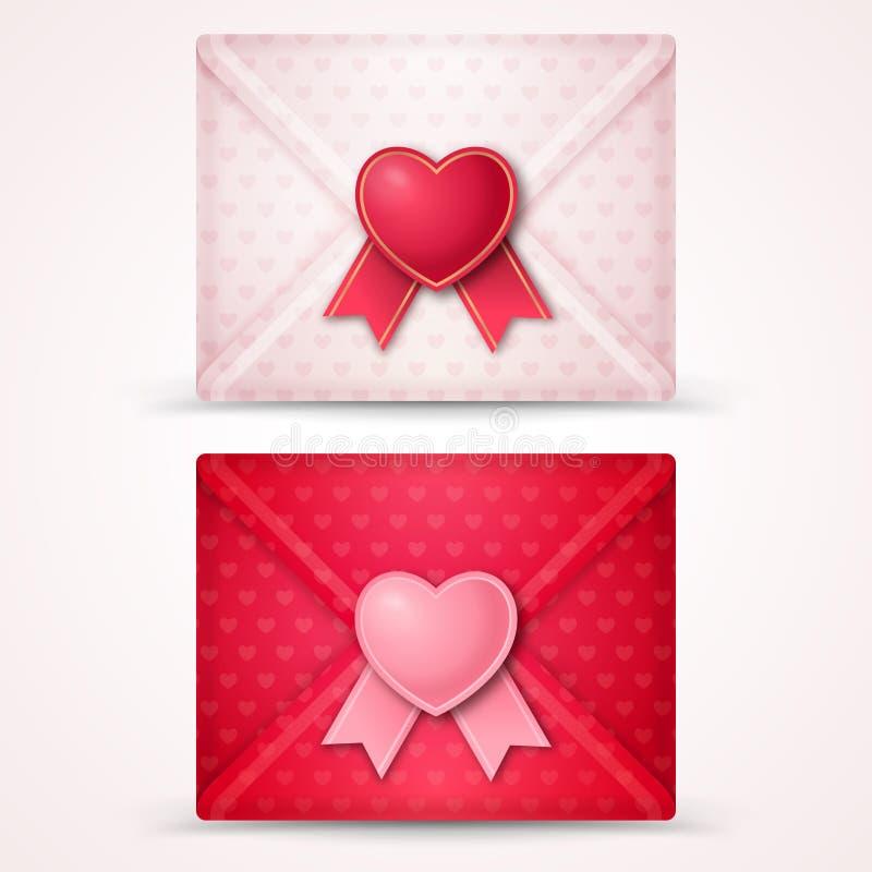 Enveloppes heureuses de Saint-Valentin illustration de vecteur