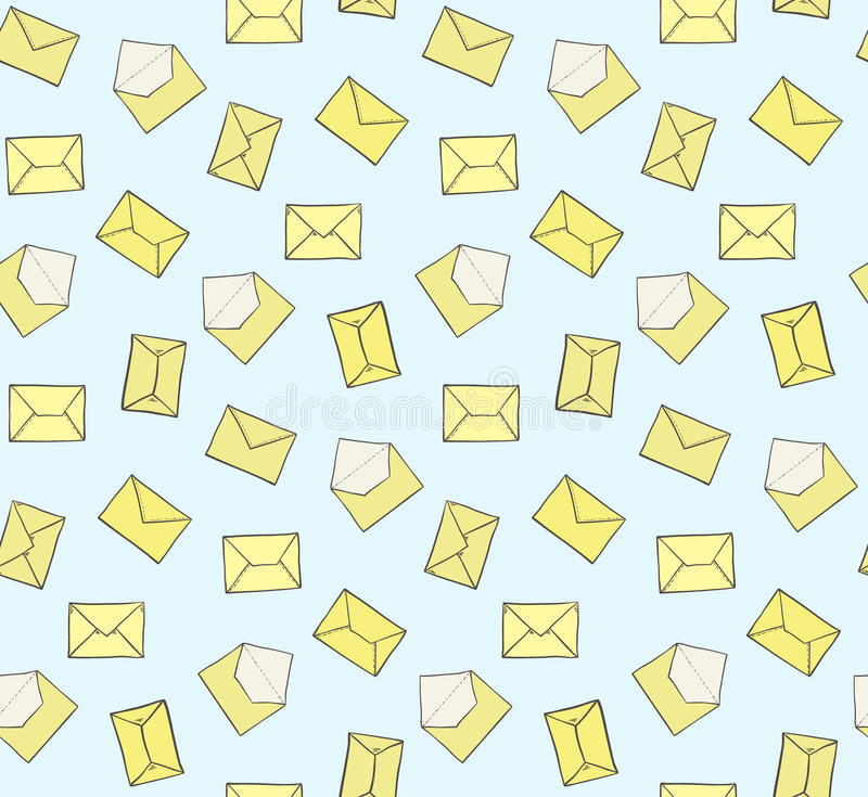 Enveloppes jaunes fermées et ouvertes tirées par la main mignonnes sur le modèle sans couture de fond bleu Texture de courrier de illustration libre de droits