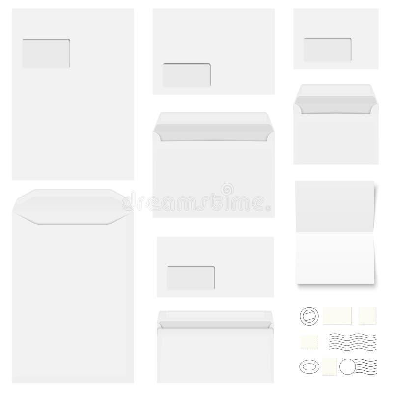 enveloppes, papeterie et cachets de la poste de collection illustration stock