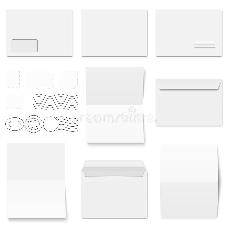 enveloppes, papeterie et cachets de la poste de collection illustration libre de droits