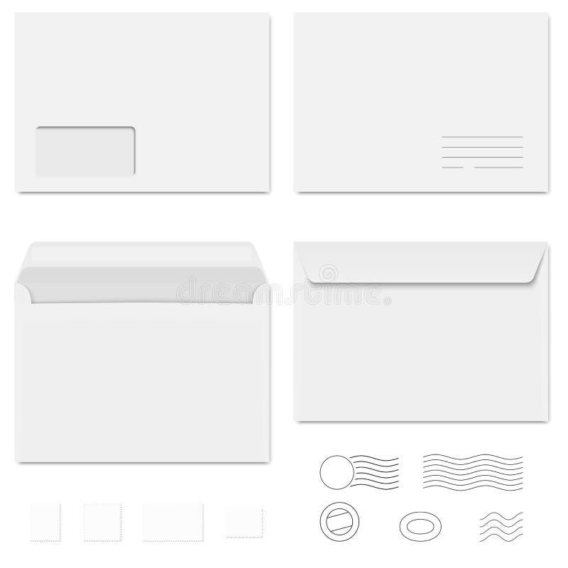 Enveloppes/papier à lettres/timbres-poste blancs illustration stock