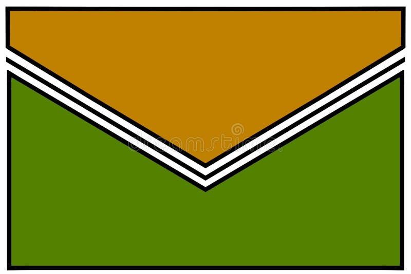 Enveloppictogram: groene erwtensoep en Dijon geel met zwart-witte gomvouwen en witte grenzen royalty-vrije illustratie