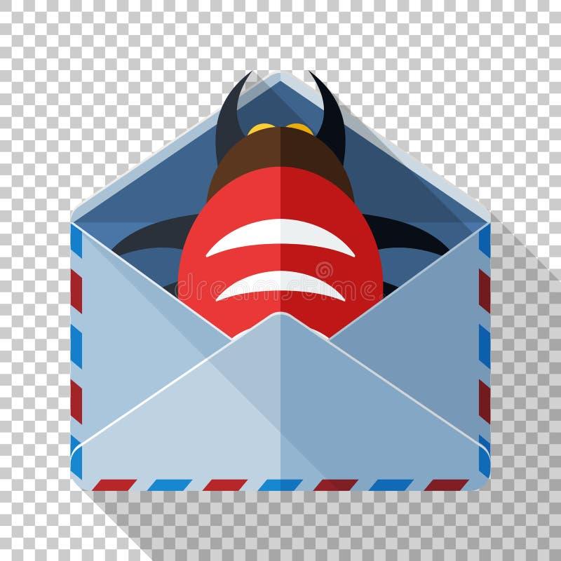 Enveloppictogram met insect binnen in vlakke stijl op transparante achtergrond Concept een e-mail met een kwaadwillige gehechthei stock illustratie