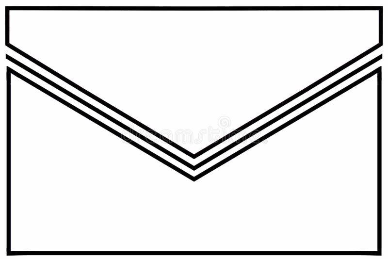 Enveloppictogram: wit met zwart-witte gomvouwen en witte grenzen stock illustratie
