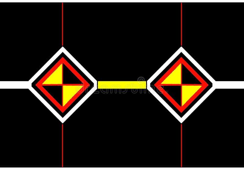 Enveloppictogram: zwarte, oranje en witte diamanten met zwarte en gele driehoeken vector illustratie