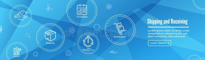 Enviando e recebendo o ícone ajustado com caixas, armazém, lista de verificação, etc. ilustração royalty free