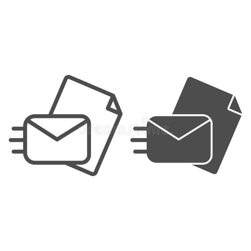 Enviando a linha do correio e o ícone do glyph Enviando uma ilustração do vetor da letra isolada no branco Envelope com o papel a ilustração do vetor