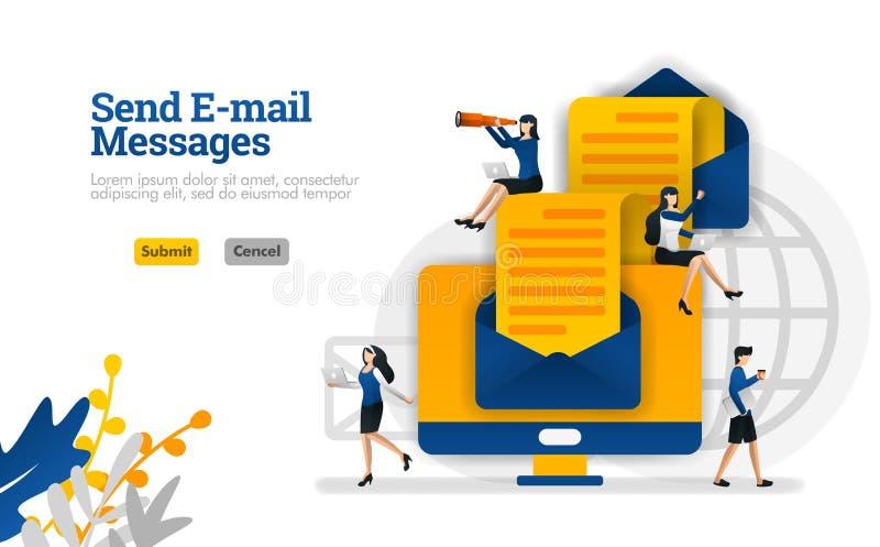 Enviando mensagens e artigos de e-mail da extremidade para terminar os envelopes e o conceito da ilustração do vetor dos computad ilustração do vetor