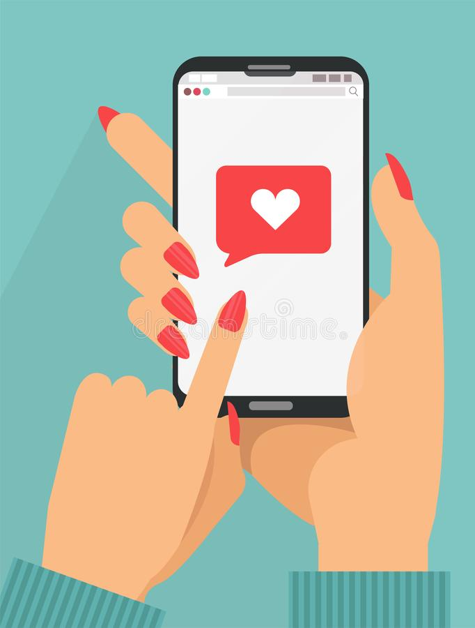 Enviando o conceito da mensagem do amor 2 mãos fêmeas que guardam o telefone com coração, enviam o botão na tela Tela de toque do ilustração do vetor