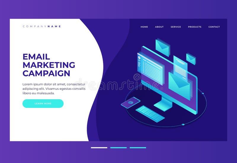 Enviando por correio eletrónico o conceito da notificação Monitor com um envelope e email na tela Mercado do email ilustração do vetor