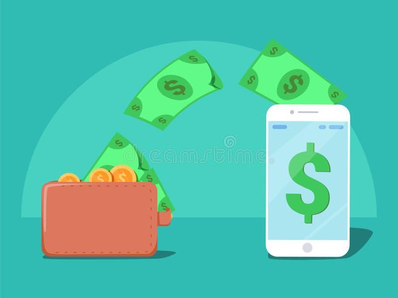 Enviando y recibiendo la radio del dinero con de la cartera al teléfono móvil, remesa del fondo ilustración del vector