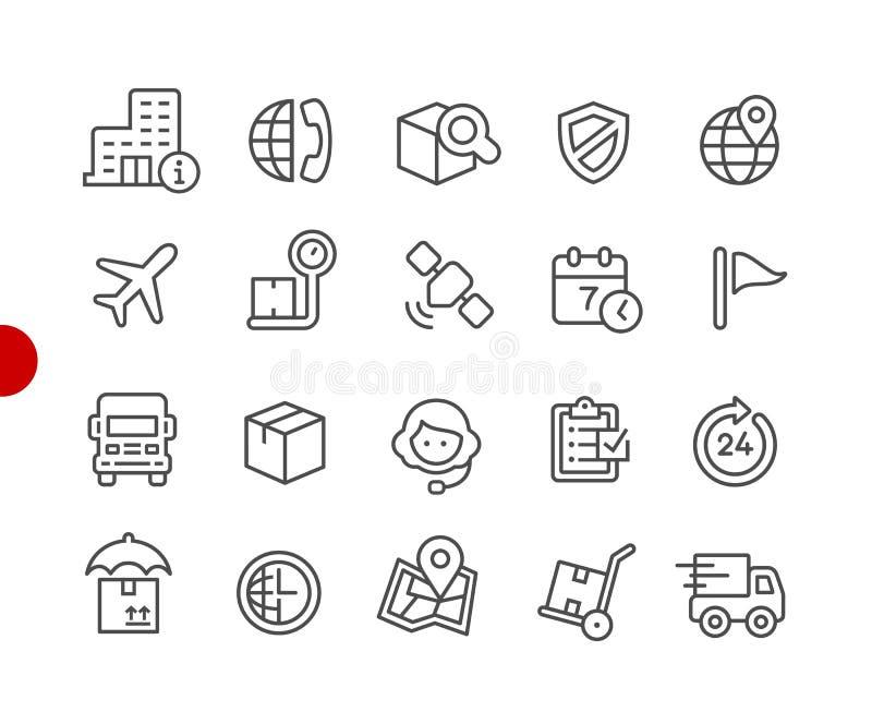 Enviando y siguiendo serie roja del punto de //de los iconos libre illustration