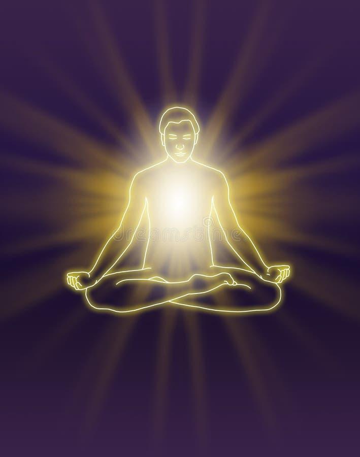 Enviar energía durante la meditación ilustración del vector
