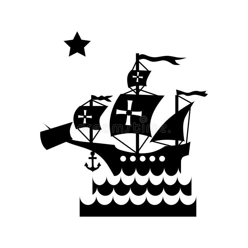 Envie com a bandeira de Columbo no ícone do mar ilustração do vetor