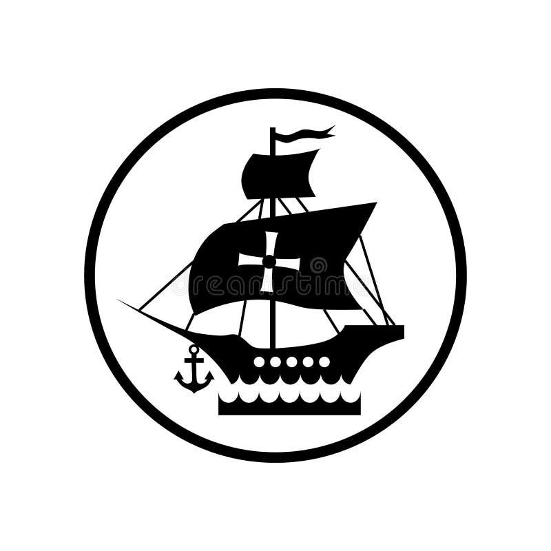 Envie com a bandeira do ícone de Columbo, estilo simples ilustração do vetor