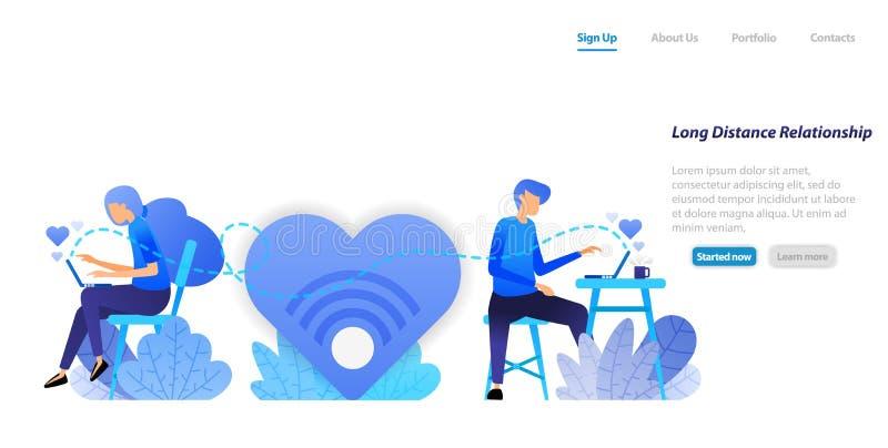 Envie conversam mensagens grandes do amor de uma comunicação interurbana dos pares do relacionamento com um portátil desktop Conc ilustração stock