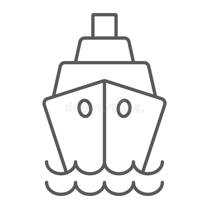 Envie a linha fina ícone, o cruzeiro e a vela, sinal do barco, gráficos de vetor, um teste padrão linear em um fundo branco ilustração stock