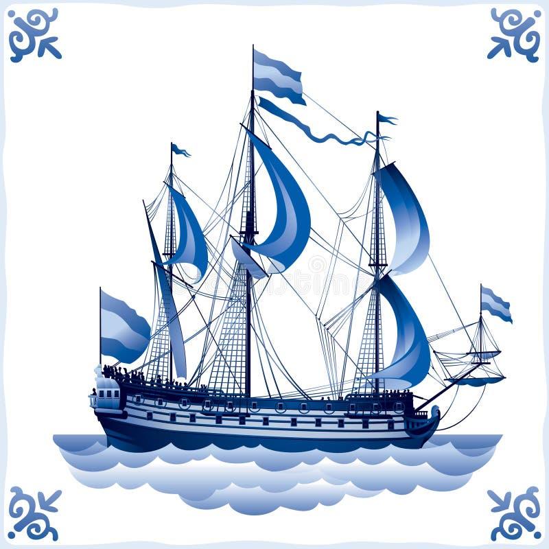 Envie na telha holandesa azul 4, cruzador de batalha ilustração stock