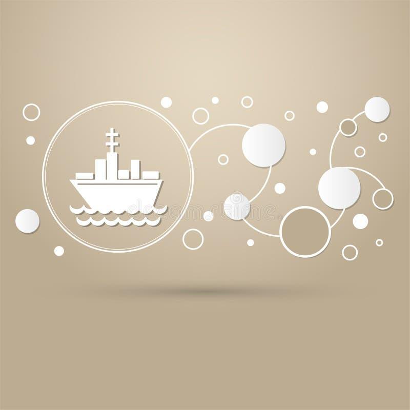 Envie o ícone do barco em um fundo marrom com estilo elegante e o projeto moderno infographic ilustração royalty free