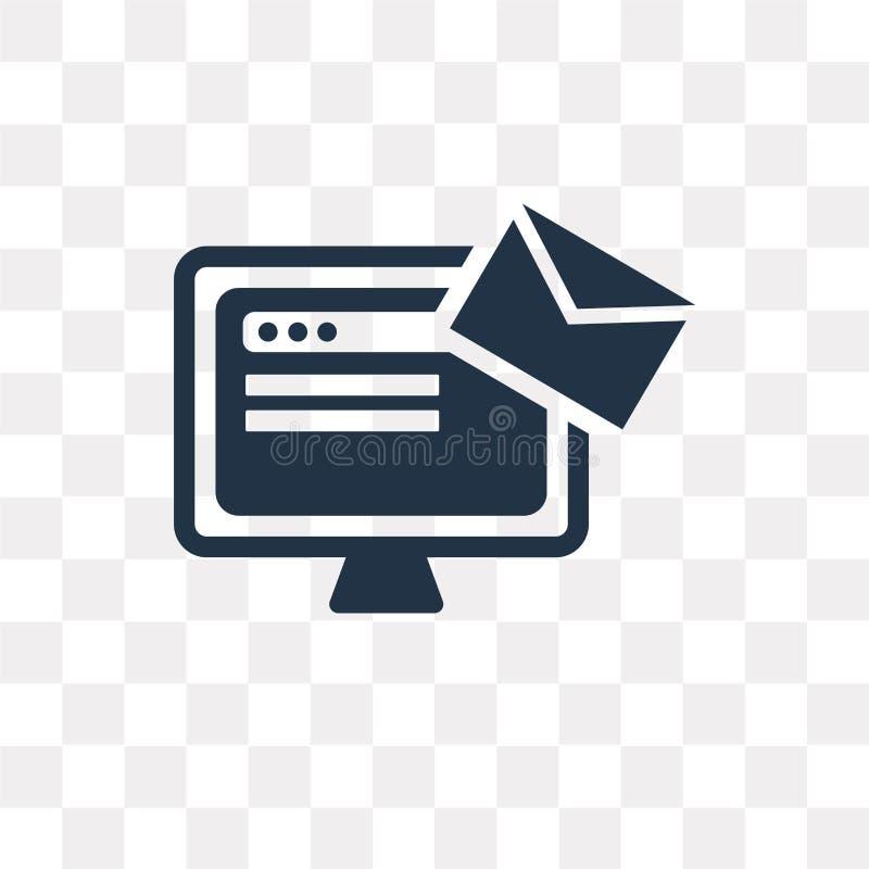 Envie o ícone do vetor isolado no fundo transparente, transporte do correio ilustração royalty free