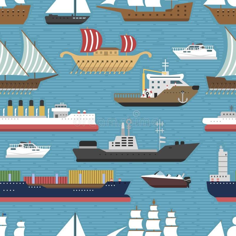 Envie o backgrpund sem emenda marinho do teste padrão do cruzeiro dos veleiros do vetor da indústria de viagens da embarcação do  ilustração stock